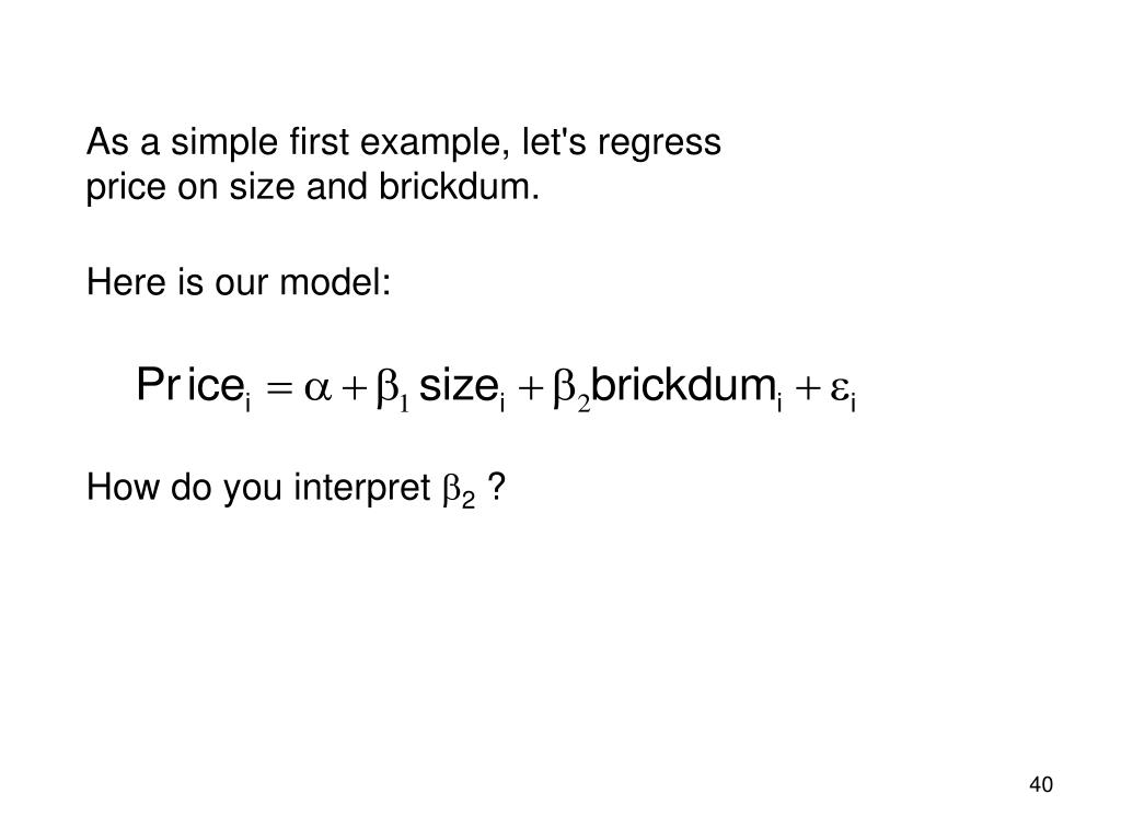 As a simple first example, let's regress