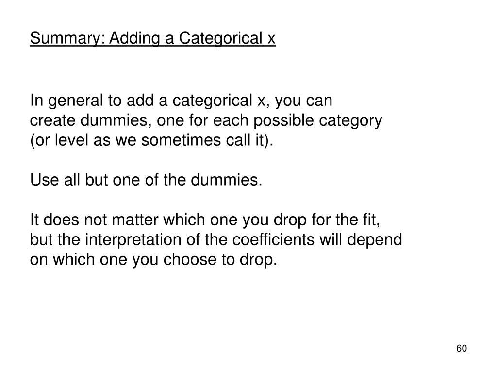 Summary: Adding a Categorical x