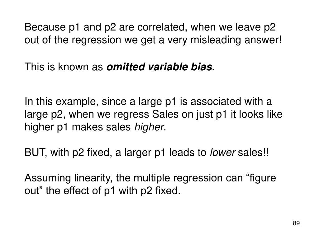 Because p1 and p2 are correlated, when we leave p2 out of the regression we get a very misleading answer!