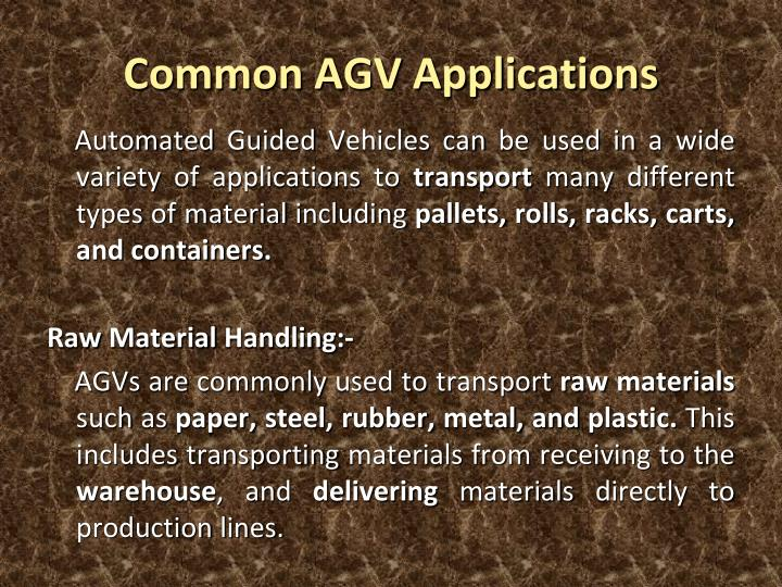 Common AGV Applications