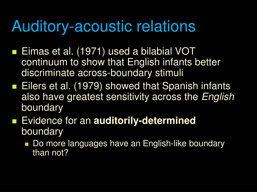 Auditory-acoustic relations