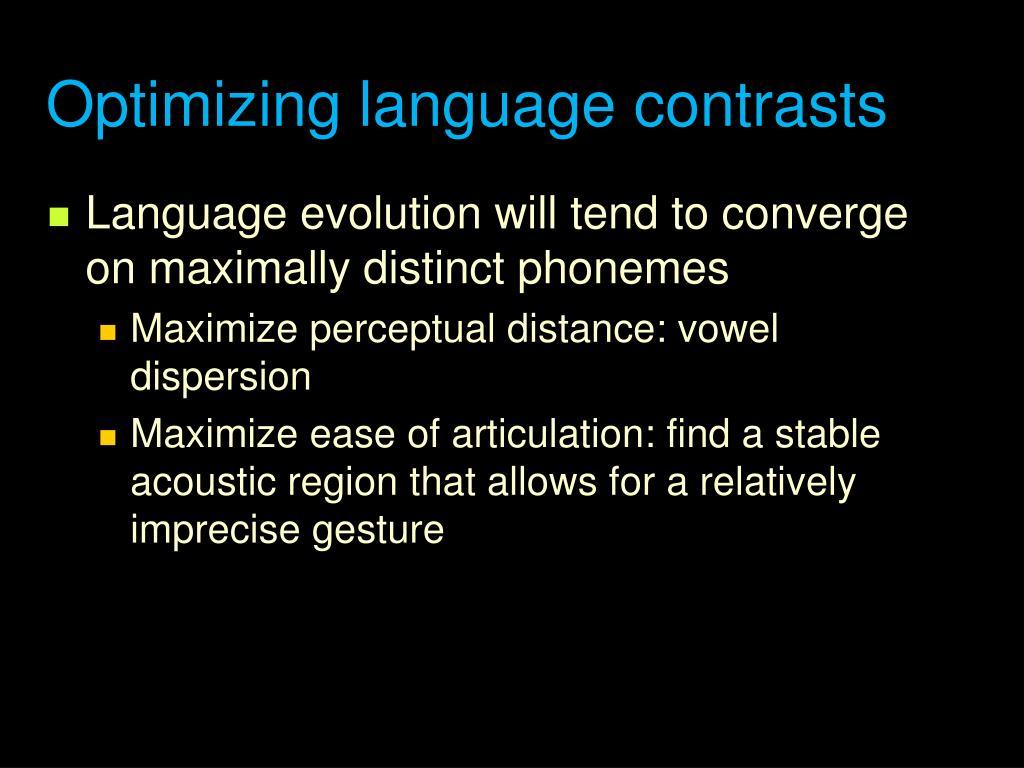 Optimizing language contrasts