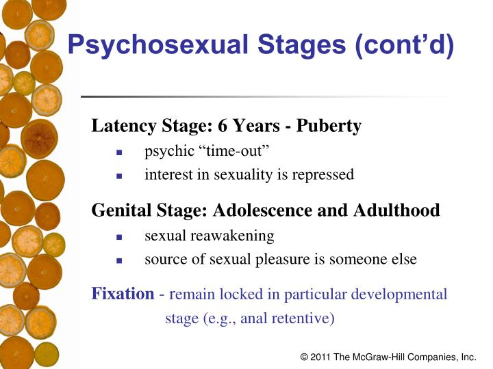Psychosexual Stages (cont'd)