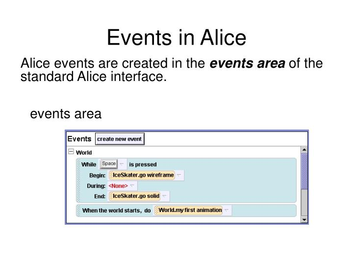 Events in Alice