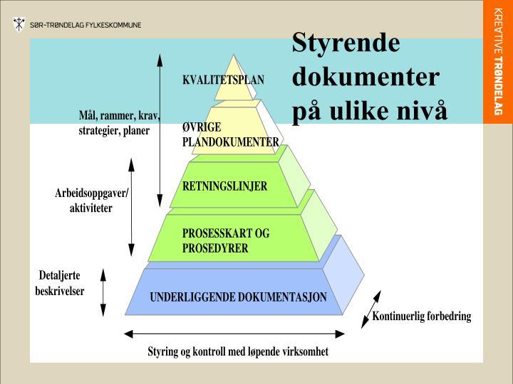 Styrende dokumenter på ulike nivå