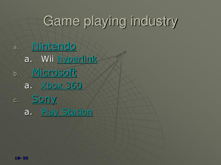 Game playing industry