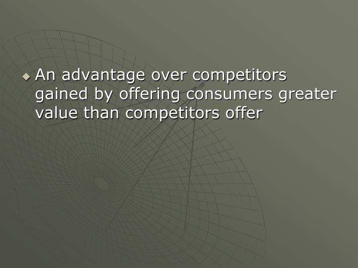 An advantage over competitors