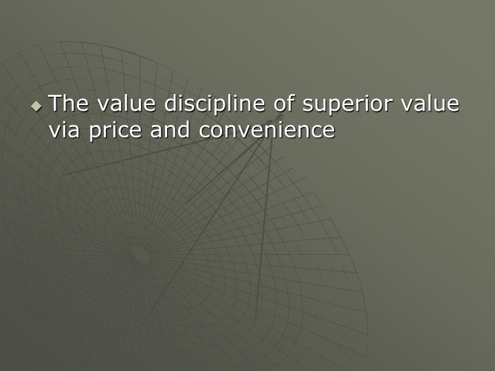 The value discipline of superior value via price and convenience