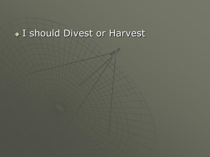 I should Divest or Harvest