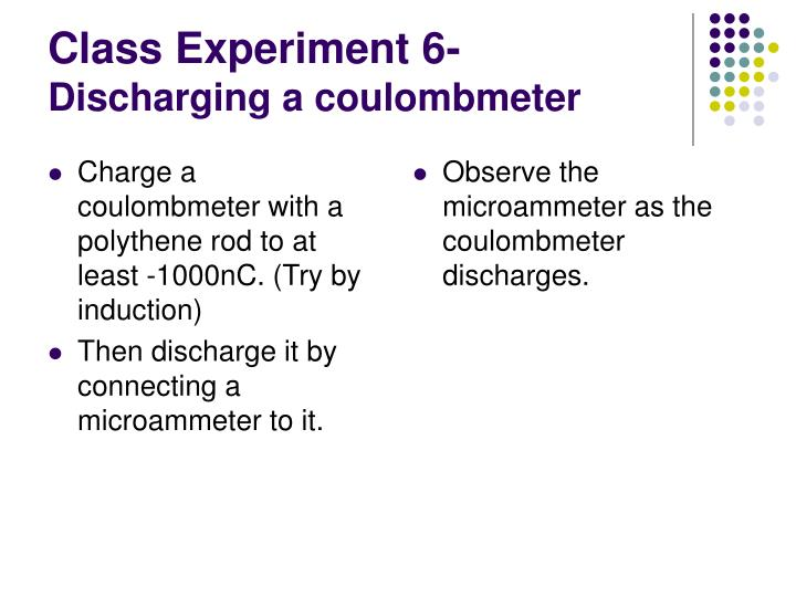 Charge a coulombmeter with a polythene rod to at least -1000nC. (Try by induction)