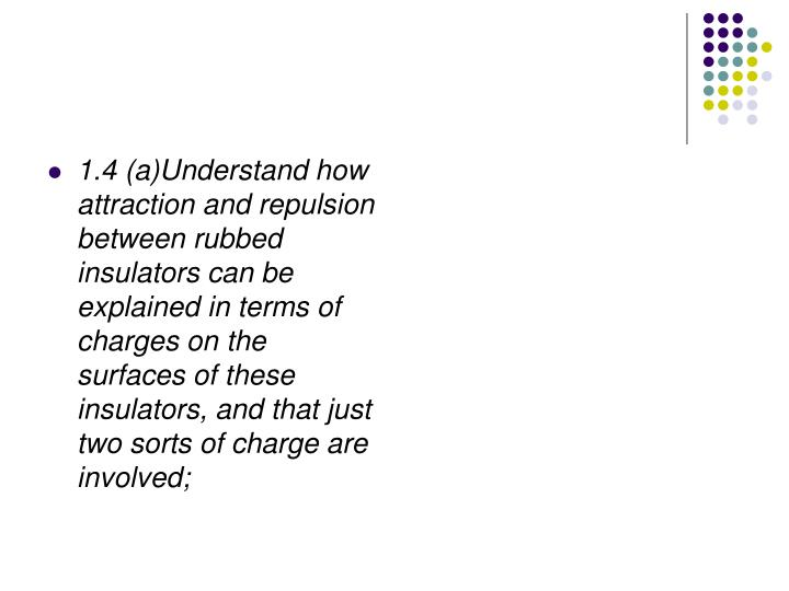1.4 (a)Understand how attraction and repulsion between rubbed insulators can be explained in terms o...