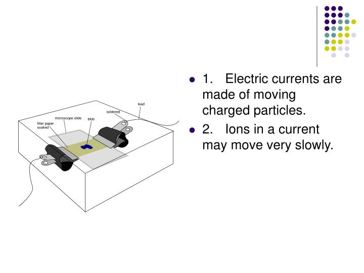 1.Electric currents are made of moving charged particles.