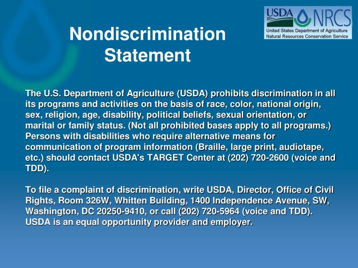 The U.S. Department of Agriculture (USDA) prohibits discrimination in all its programs and activities on the basis of race, color, national origin, sex, religion, age, disability, political beliefs, sexual orientation, or marital or family status. (Not all prohibited bases apply to all programs.)   Persons with disabilities who require alternative means for communication of program information (Braille, large print, audiotape, etc.) should contact USDA's TARGET Center at (202) 720-2600 (voice and TDD).