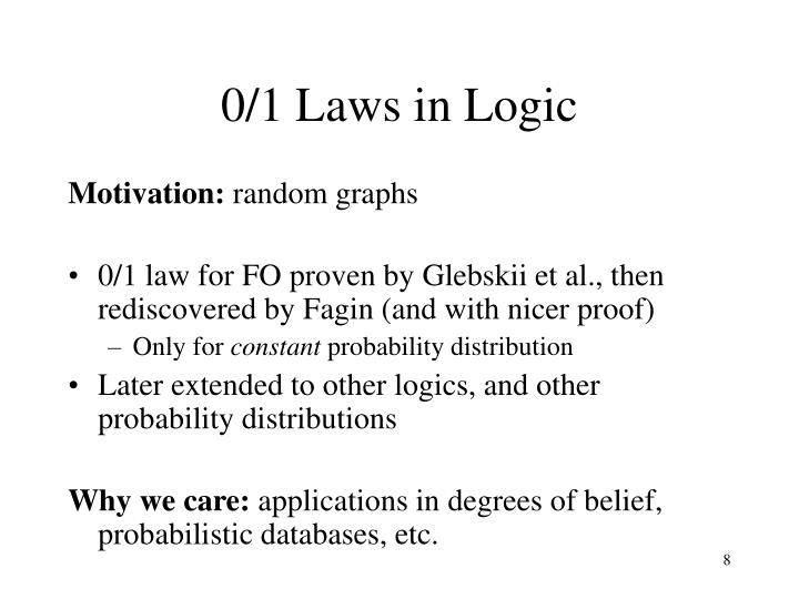 0/1 Laws in Logic