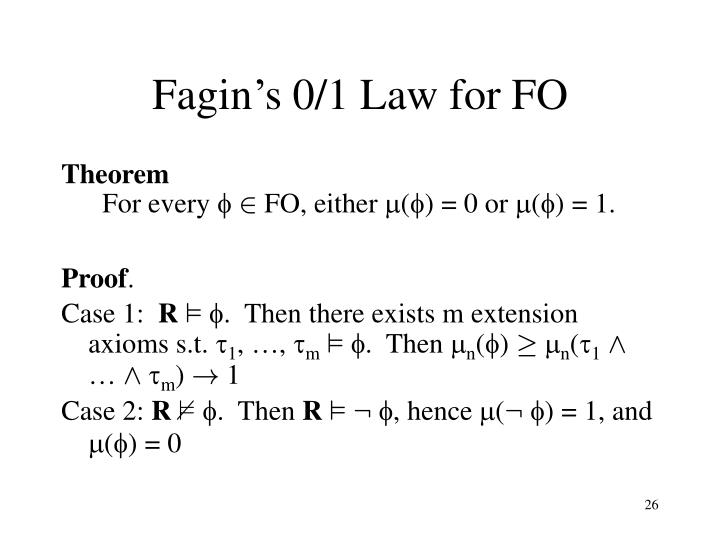 Fagin's 0/1 Law for FO