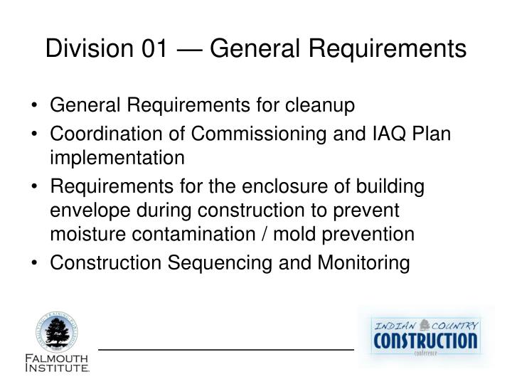 Division 01 — General Requirements