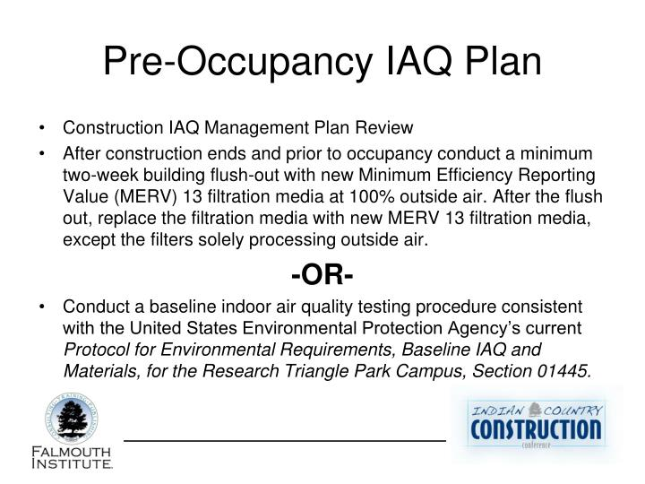 Pre-Occupancy IAQ Plan
