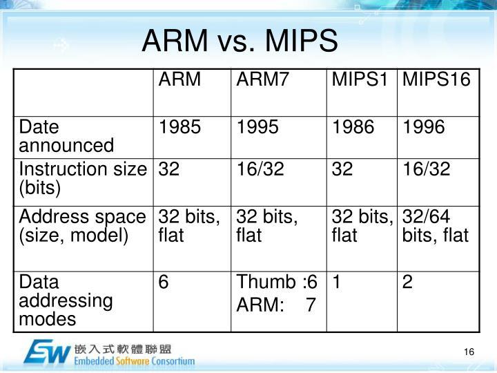 ARM vs. MIPS