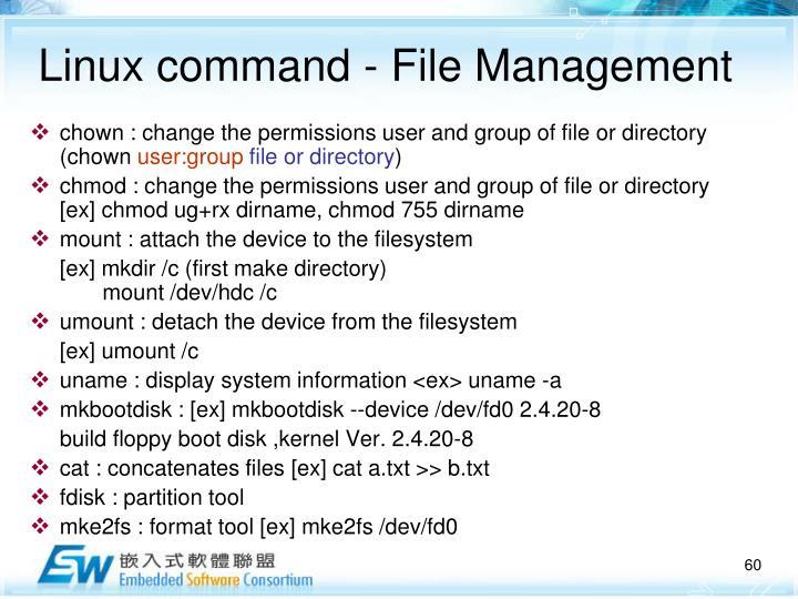 Linux command - File Management
