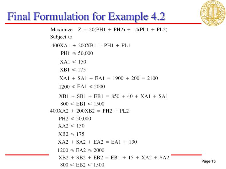 Final Formulation for Example 4.2