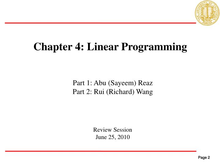 Chapter 4: Linear Programming