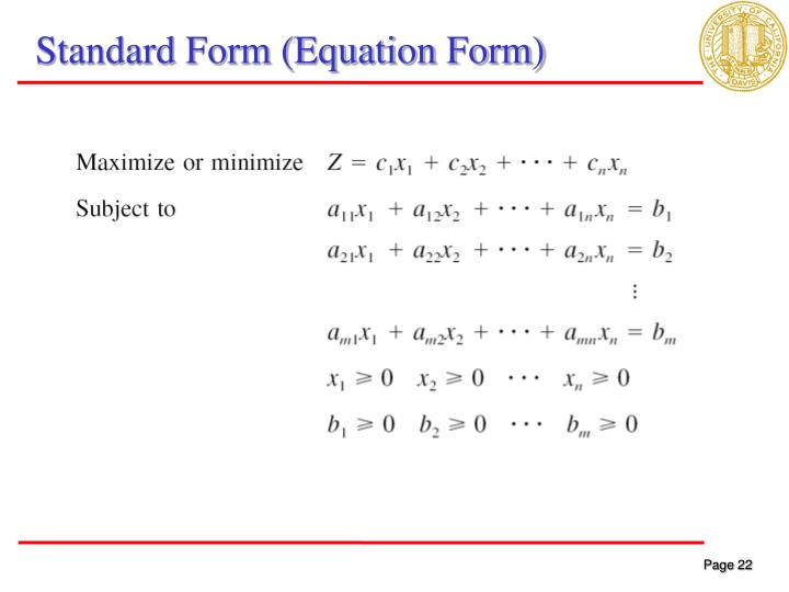 Standard Form (Equation Form)