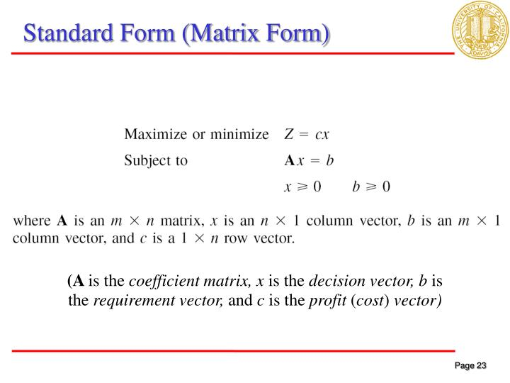 Standard Form (Matrix Form)
