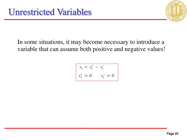 Unrestricted Variables