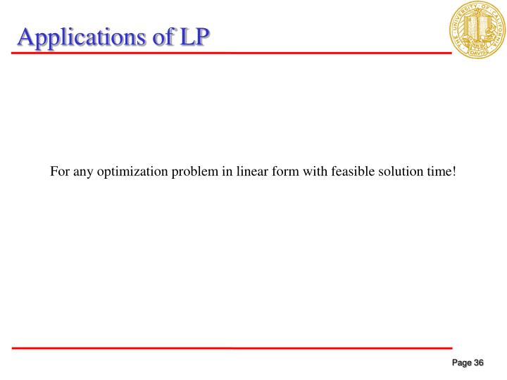 Applications of LP
