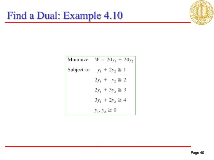 Find a Dual: Example 4.10