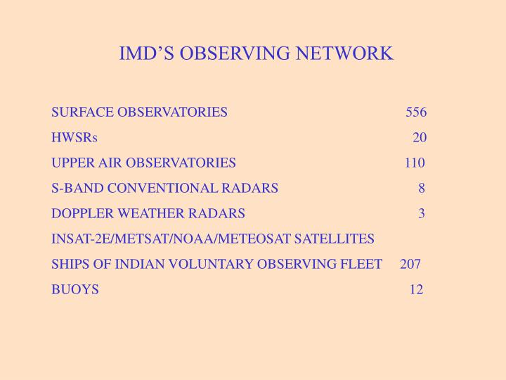 IMD'S OBSERVING NETWORK
