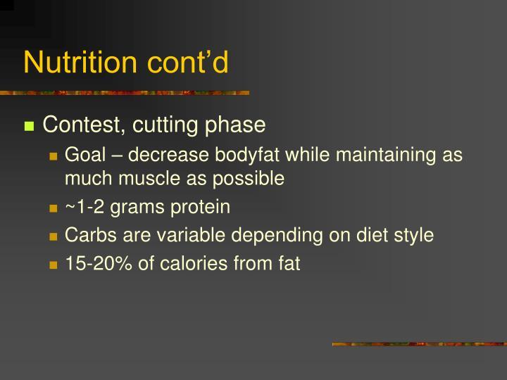 Nutrition cont'd