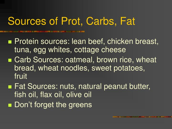 Sources of Prot, Carbs, Fat