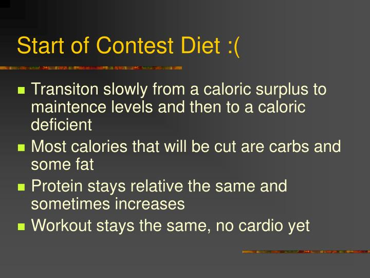 Start of Contest Diet :(