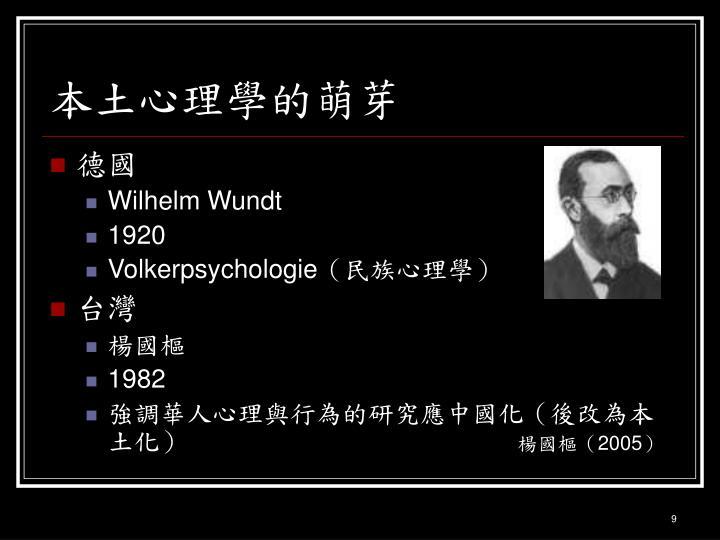 本土心理學的萌芽
