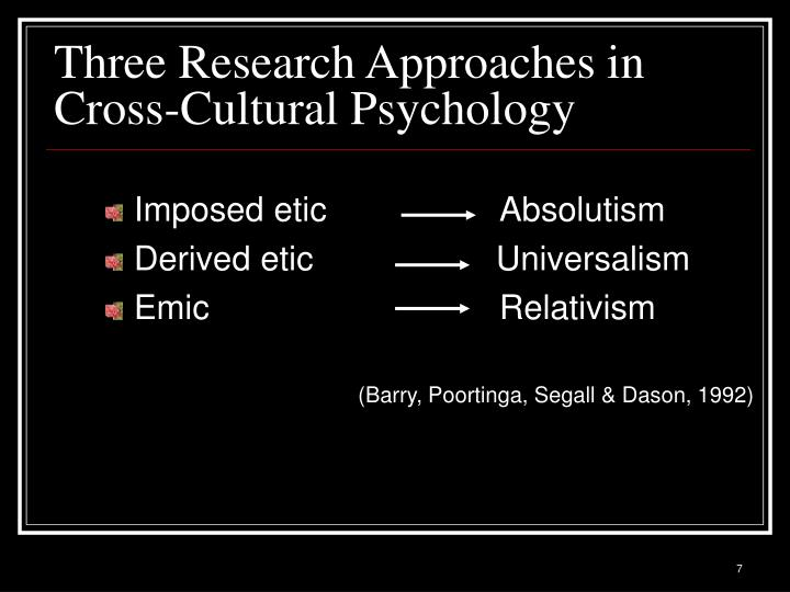 Three Research Approaches in Cross-Cultural Psychology