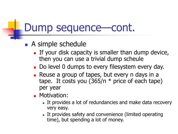 Dump sequence—cont.