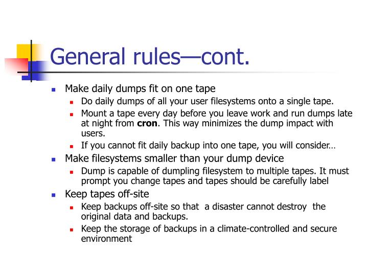 General rules—cont.