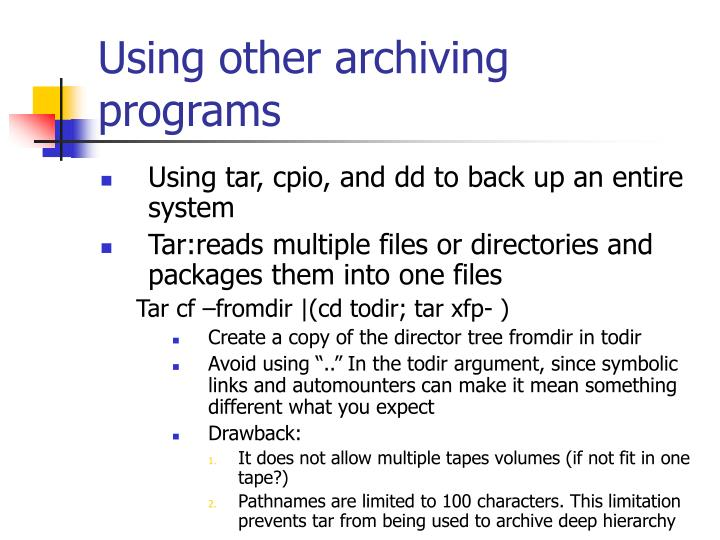 Using other archiving programs