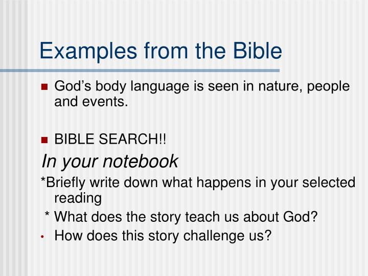 Examples from the Bible