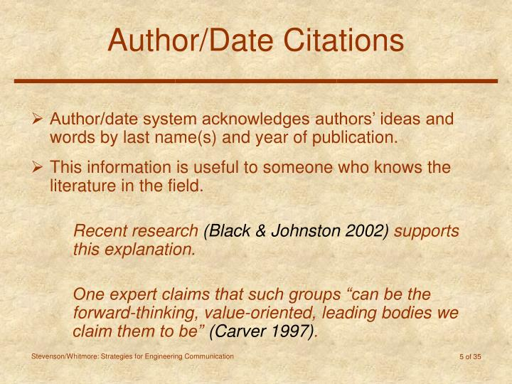 Author/Date Citations