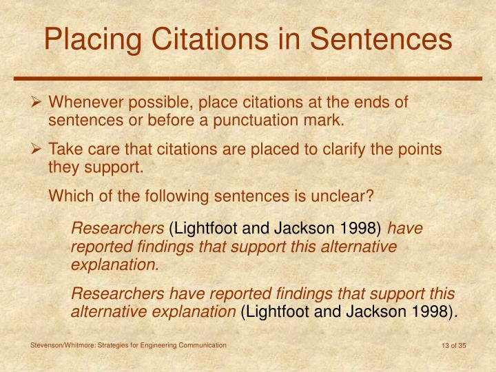 Placing Citations in Sentences