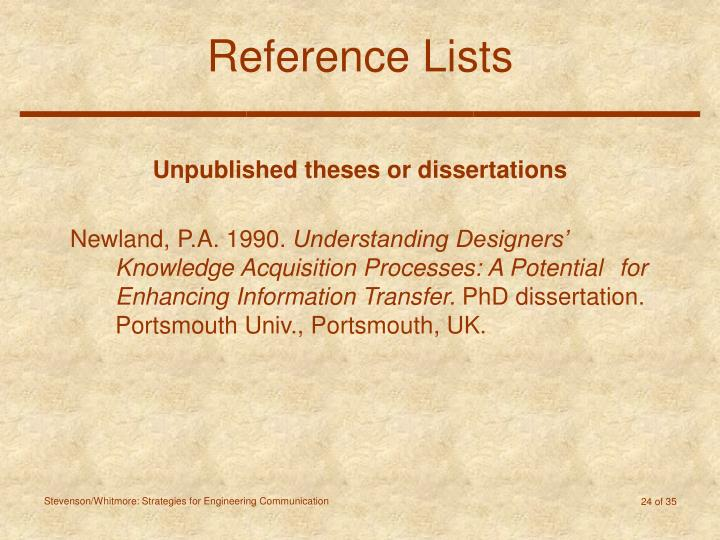 Reference Lists