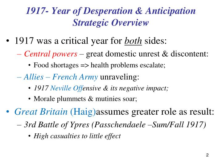 1917 year of desperation anticipation strategic overview
