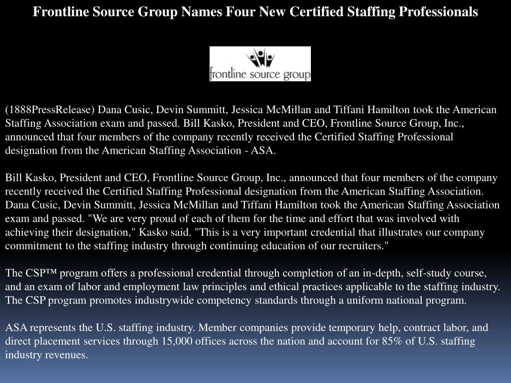 Frontline Source Group Names Four New Certified Staffing Professionals