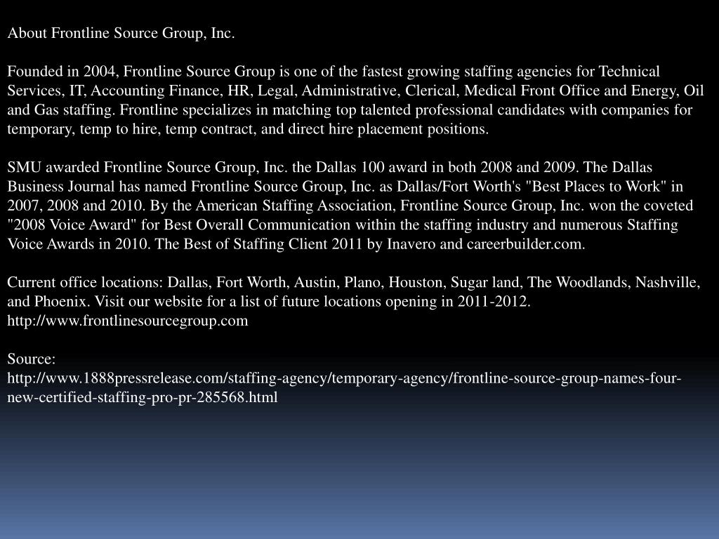 About Frontline Source Group, Inc.