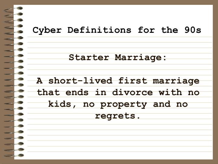 Starter Marriage: