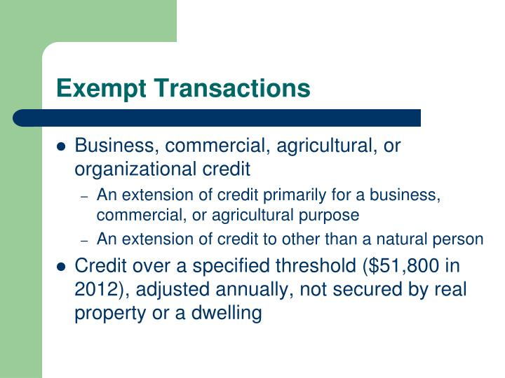 Exempt Transactions