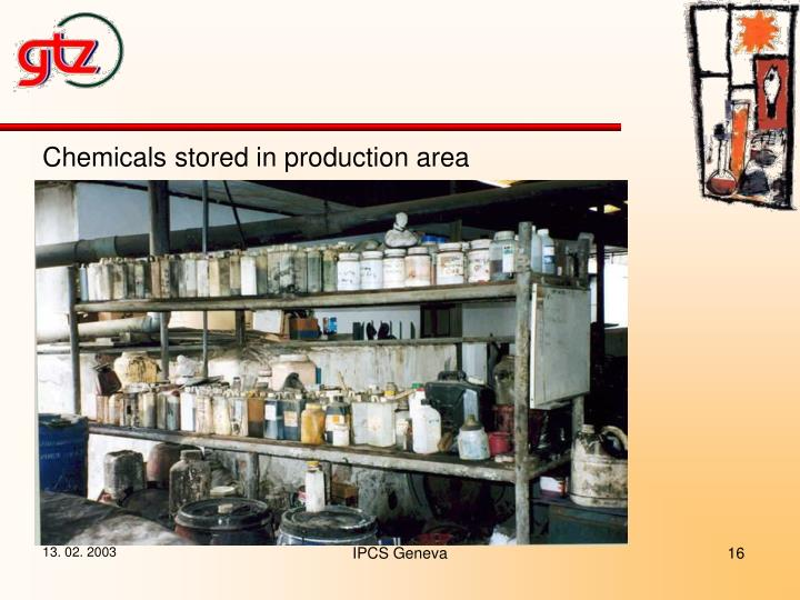 Chemicals stored in production area