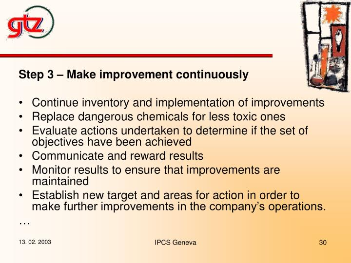 Step 3 – Make improvement continuously